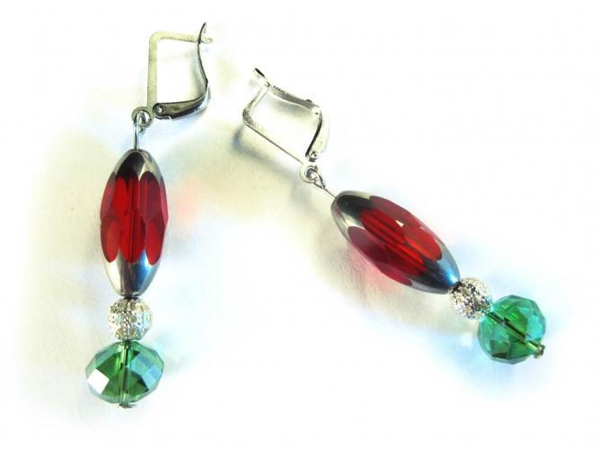 Schmuckset aus Fusskettchen, Armreif und Ohrhängern aus buntem Kristallglas