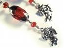 Rote Ohrringe 'Rotes Engelchen' lange rot-silber Ohrringe mit Engelsanhänger