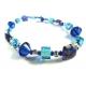 Blau türkises Fusskettchen mit Millefiori, Glaswürfeln und Metallperlen aus Tibetsilber