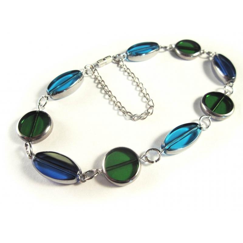 Türkis blau grünes Fußkettchen Kristallglas aus Fensterperlen mit Silberrahmen