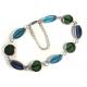 Türkis blau grünes Fußkettchen aus Fensterperlen aus Kristallglas