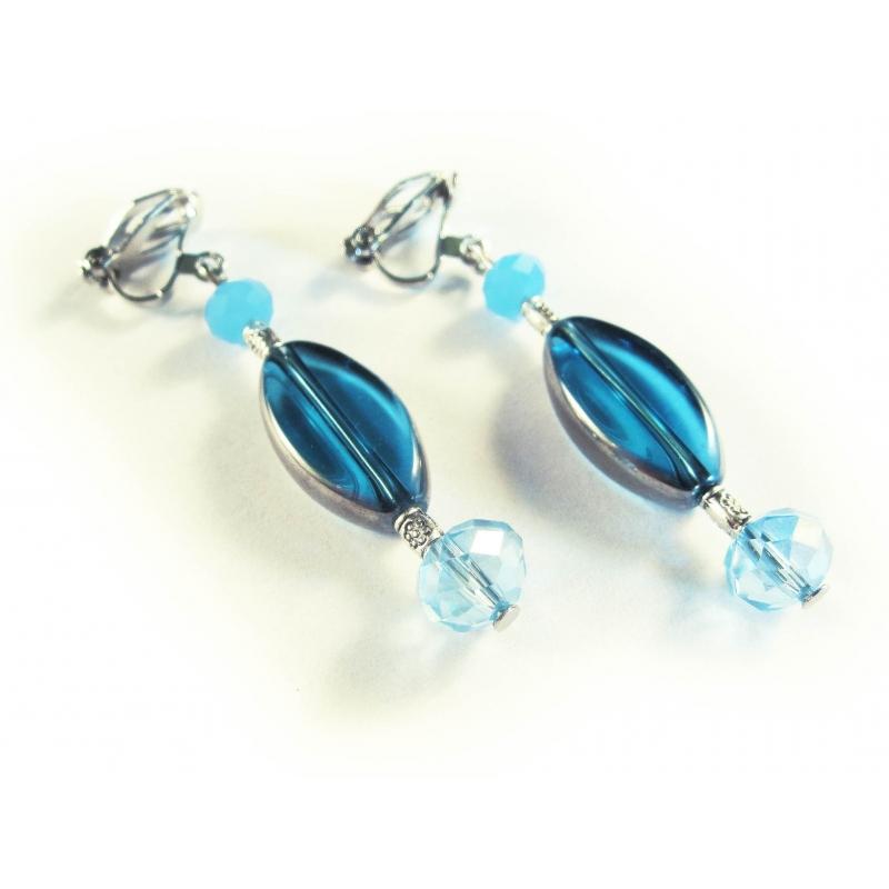 Türkis silber Ohrclips Ohrhänger aus Kristallglas mit Silberrahmen
