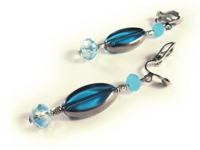 Ohrclips in türkis silber Ohrhänger aus Kristallglas mit Fensterperlen