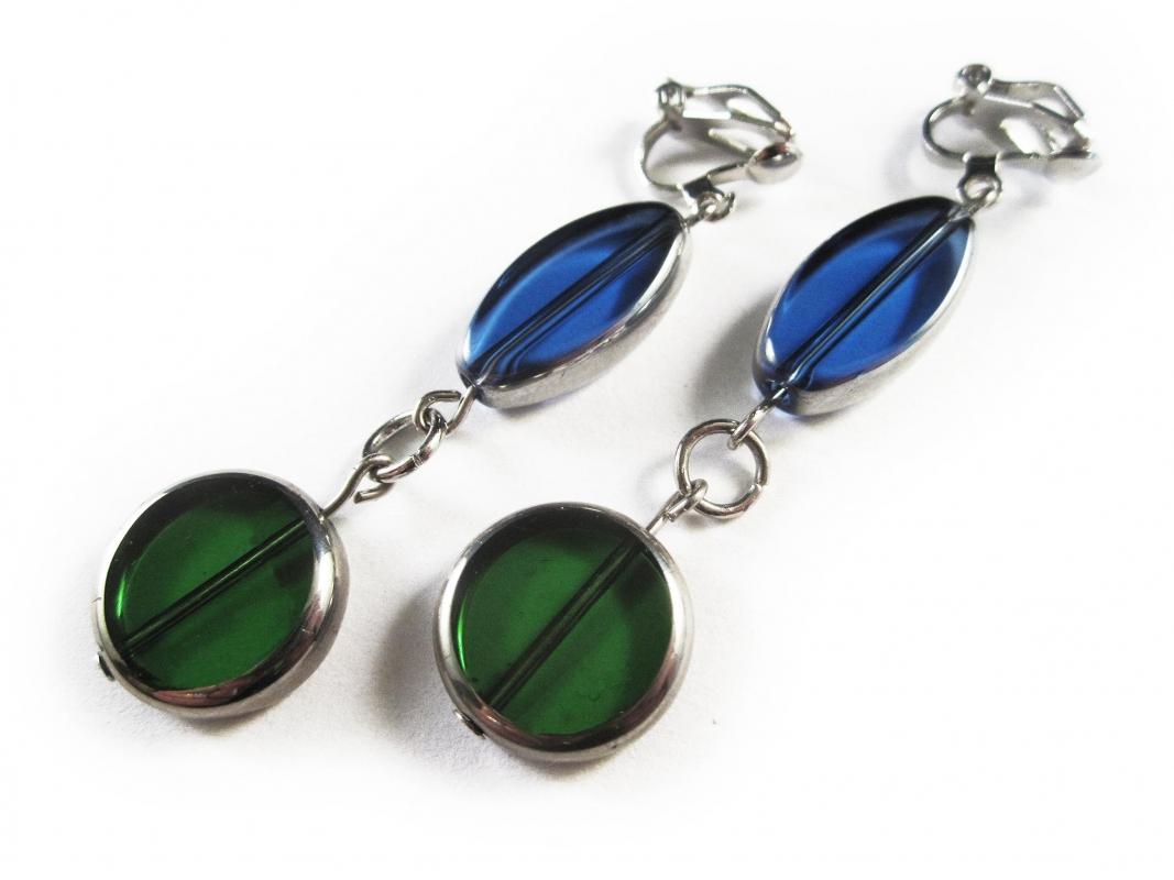 Blau grüne Ohrclips Ohrhänger aus Kristallglas mit Silberrahmen
