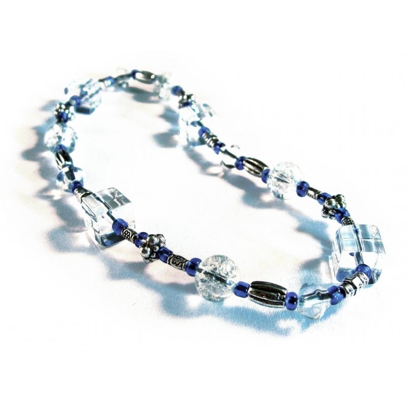 Blau weisses Fußkettchen aus Kristallglas und filigranem Tibetsilber
