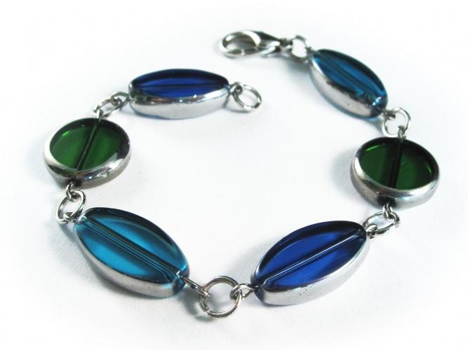 Blau grünes Armband / Armkette mit Glasperlen mit Silberrand