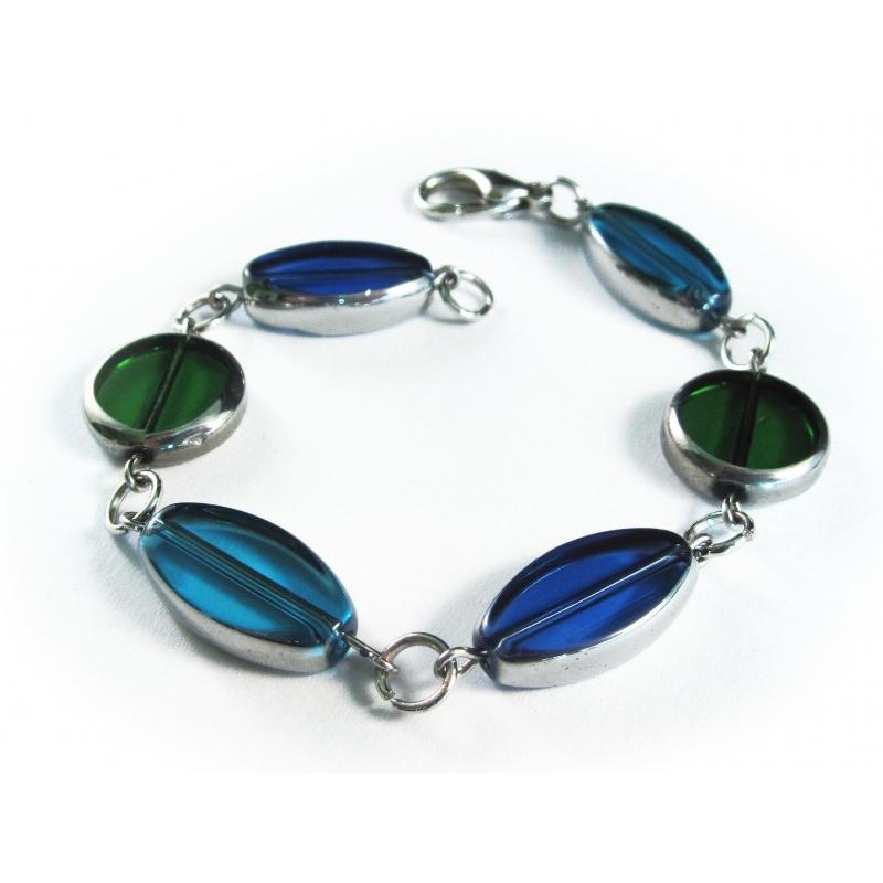 Blau grünes Armband / Armkette mit Kristallglasperlen mit Silberrand