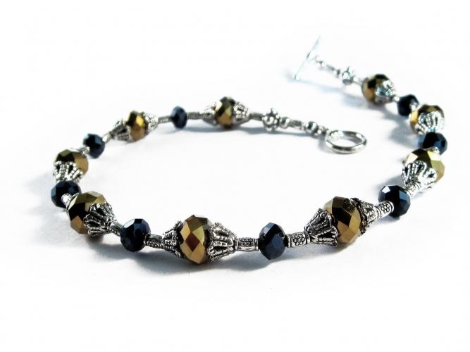 Silber schwarz gold Fußkettchen aus Kristallglas und filigranem Tibetsilber