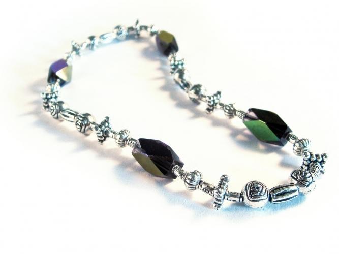 Violett / Lila silber Fußkettchen aus Kristallglas und filigranem Tibetsilber