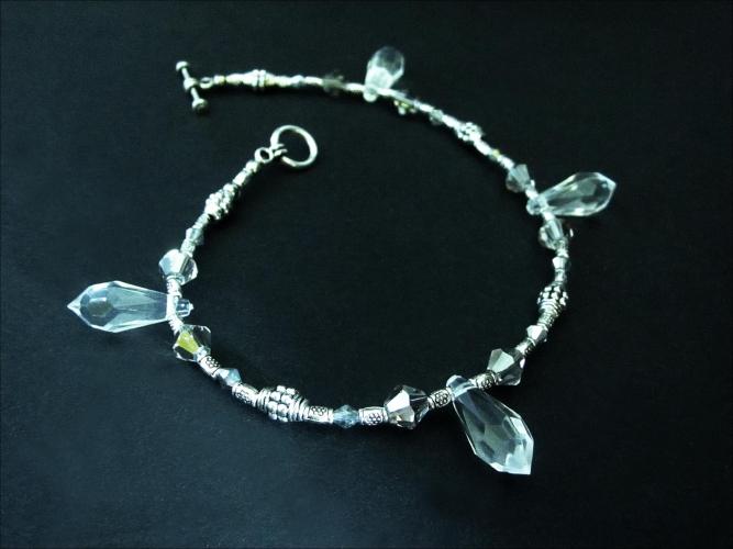 Silberfarben Fußkettchen mit Kristalltropfen