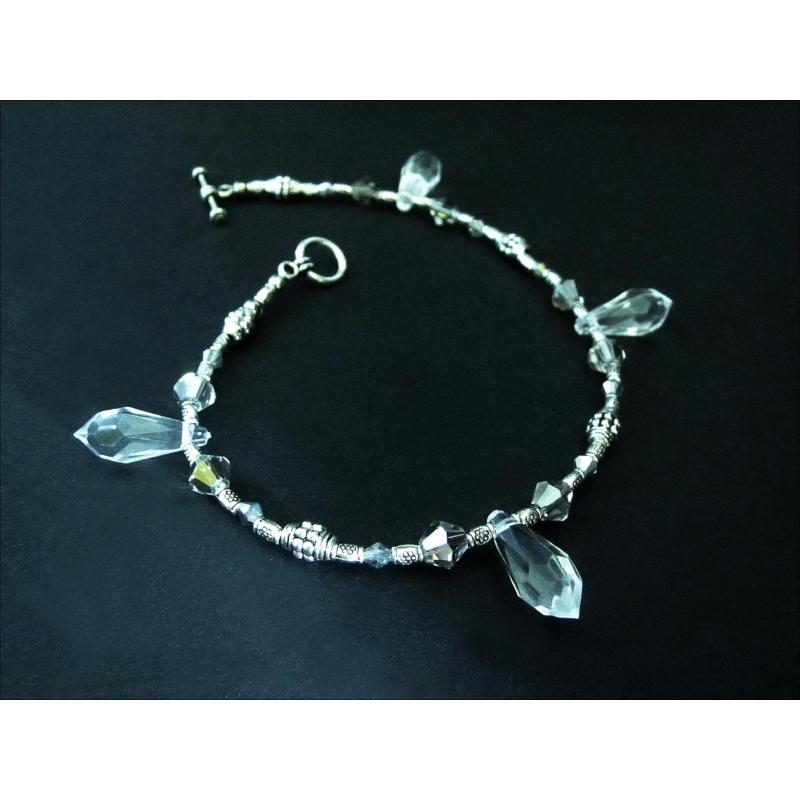 Silber Fußkettchen mit Kristalltropfen und Tibetsilber