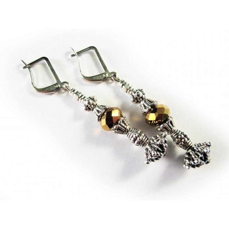 Silber gold Ohrhänger Ohrringe aus geschliffenem Kristallglas und Tibetsilber