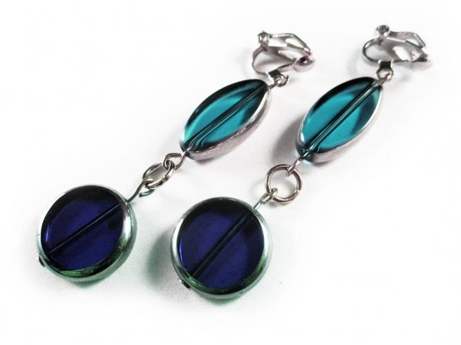 Lange türkis blaue Ohrclips Ohrhänger aus Glas mit silberfarbenem Rand