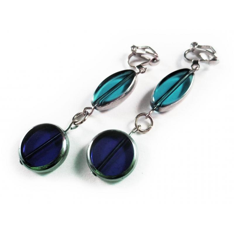 Lange türkis blaue Ohrclips Ohrhänger aus Kristallglas mit Silberrahmen