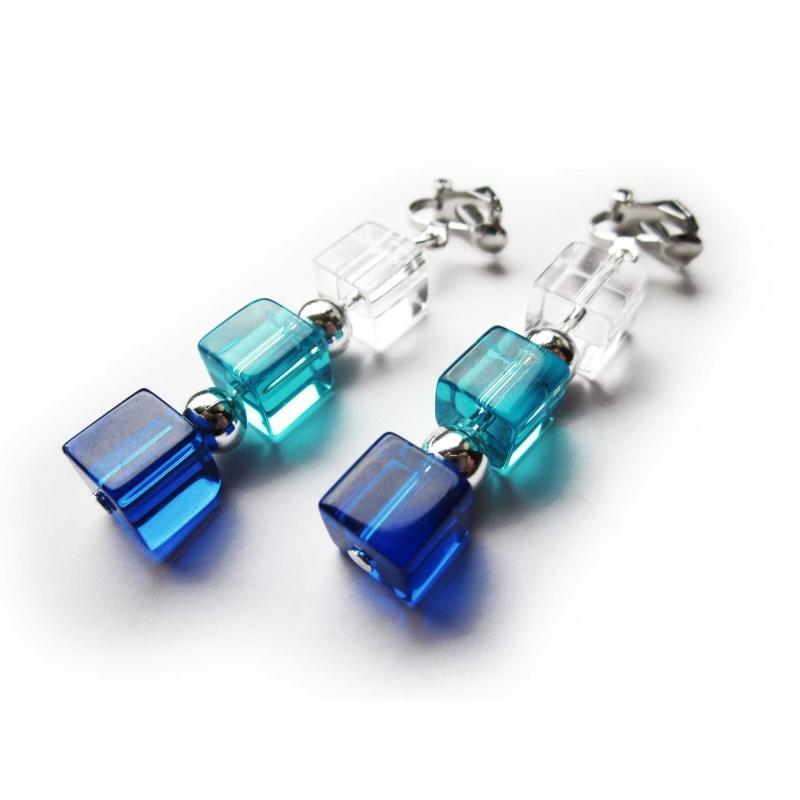 Mitellange blau silber Ohrclips aus Kristallglas und Metallperlen