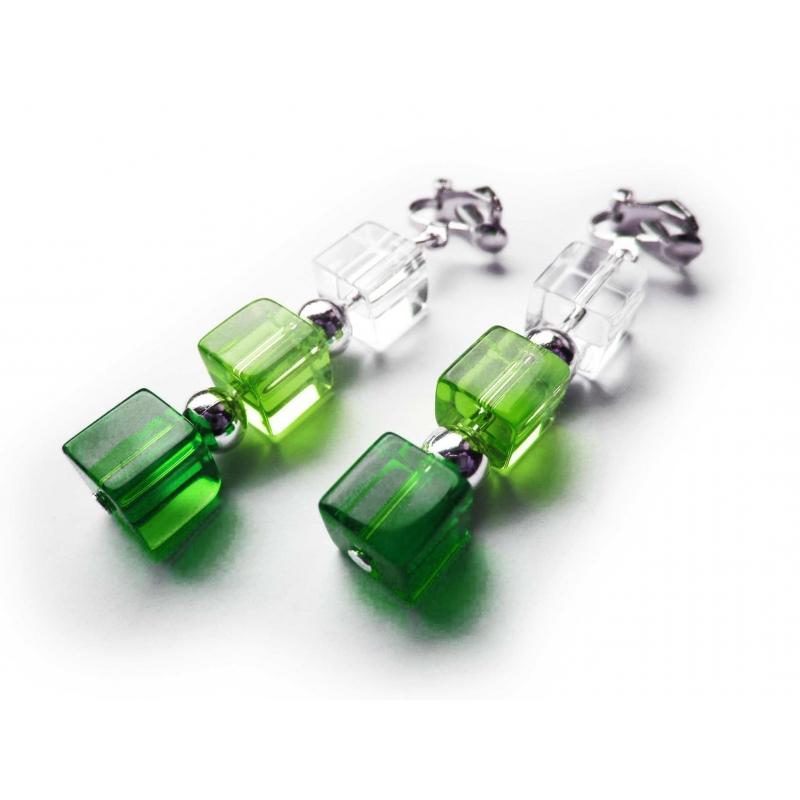Mitellange grün silber Ohrclips aus Kristallglas und Metallperlen