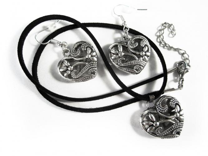 Silberfarbenes Trachtenherz an schwarzem Halsband und Ohrringe Schmuckset - Trachtenschmuck Dirndlschmuck