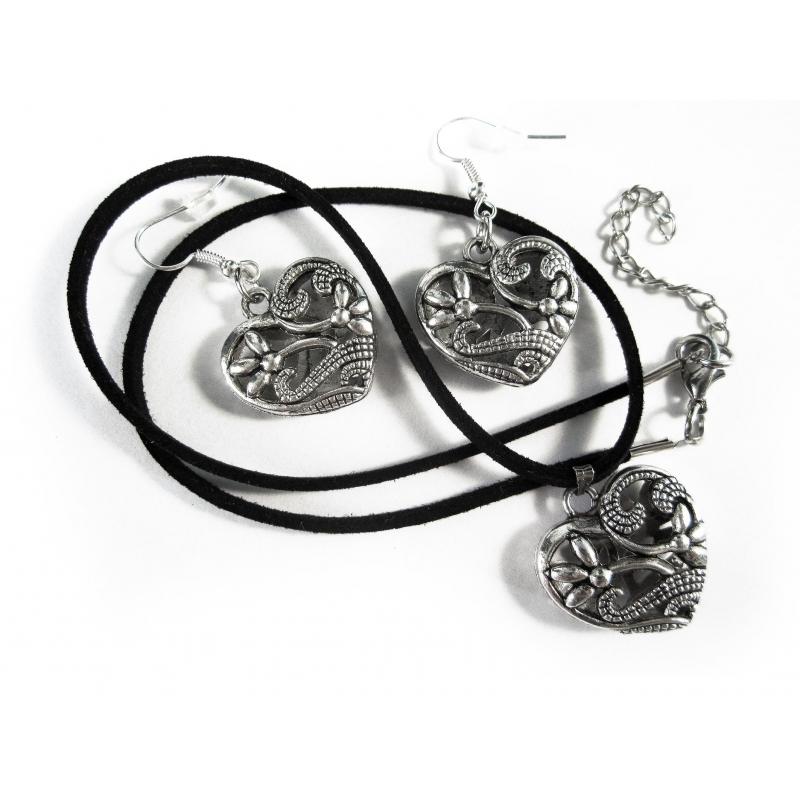 Silber Trachtenherz an schwarzem Halsband und Ohrringe Schmuckset - Trachtenschmuck Dirndlschmuck