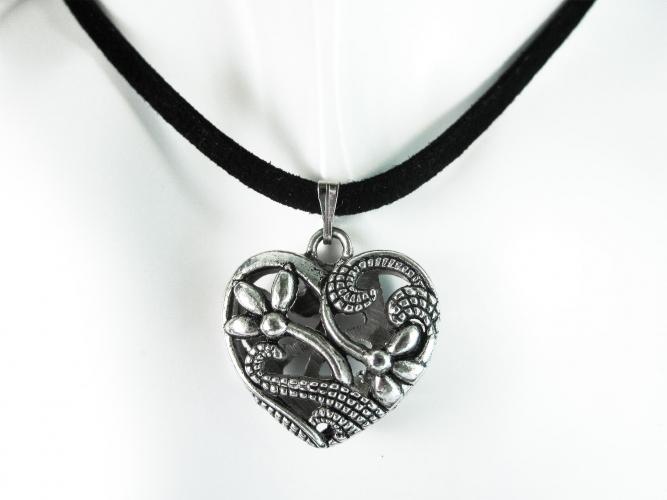 Trachtenherz Halsband - Silber Trachtenherz an schwarzem Halsband und Ohrringe Schmuckset - Trachtenschmuck Dirndlschmuck