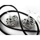 Trachtenschmuck Ohrringe - Silber Trachtenherz an schwarzem Halsband und Ohrringe Schmuckset - Trachtenschmuck Dirndlschmuck