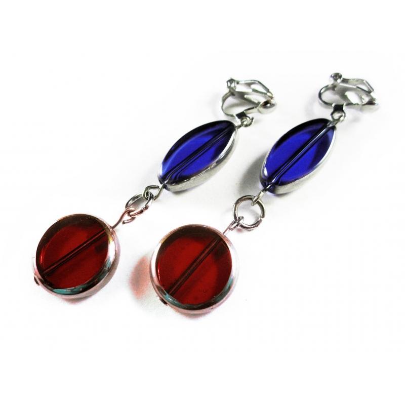 Rot Blaue Ohrclips Ohrhänger aus Kristallglas mit Silberrahmen