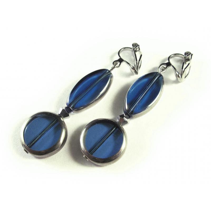 Blaue Ohrclips Ohrhänger aus Kristallglas mit Silberrahmen