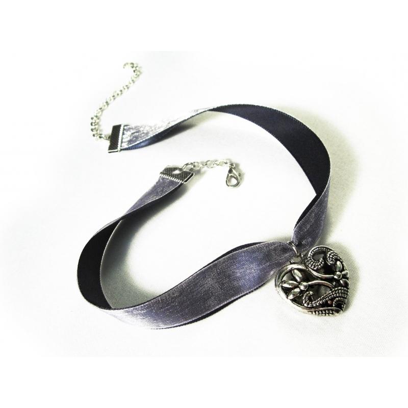 Blau fliederfarbenes Halsband mit filigranem Trachtenherz - Trachtenschmuck Dirndlschmuck