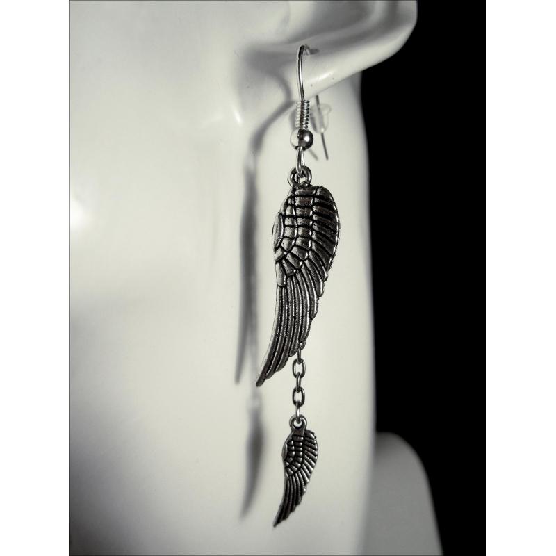 Engelsflügel Ohrhänger silberfarbene Ohrringe aus Tibetsilber