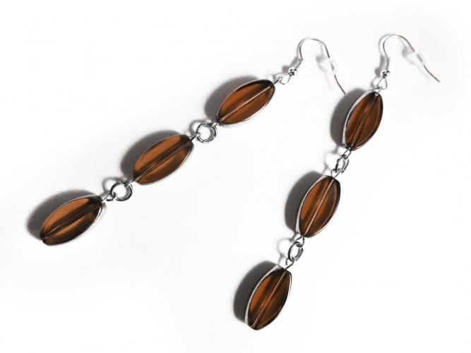 Lange braune Ohrhänger aus braun und silberfarben Glas - Glasschmuck