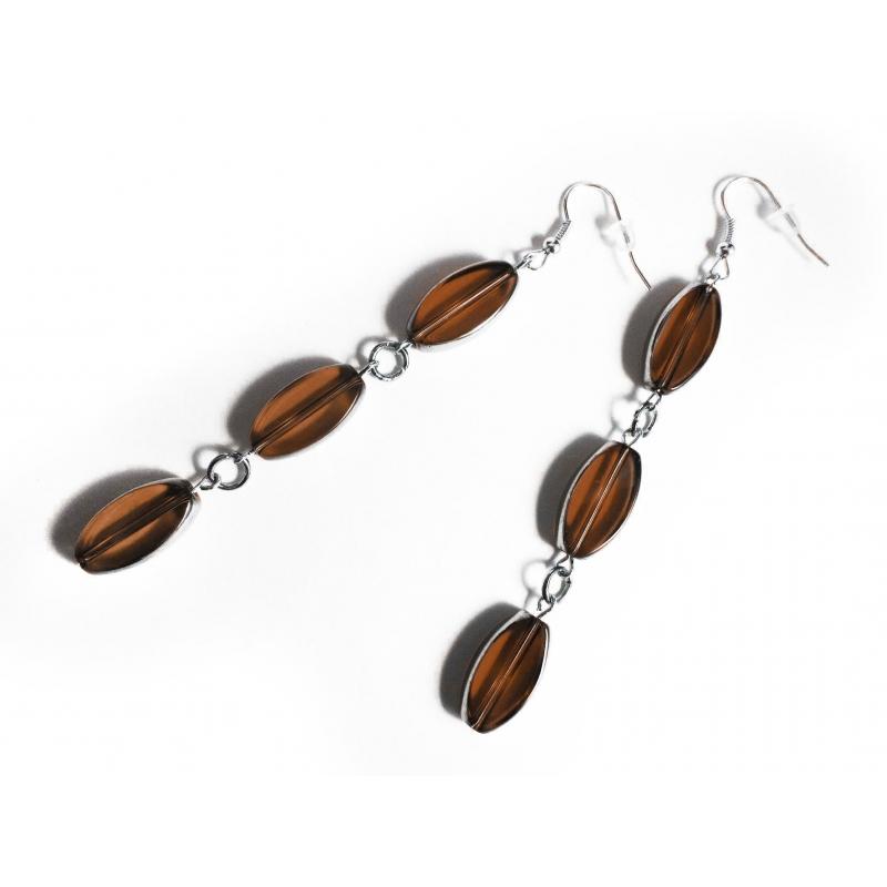 Lange braune Ohrhänger aus braun und silber Kristallglas - Glasschmuck