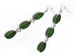 Lange Ohrhänger aus grünem und silber Kristallglas - Glasschmuck