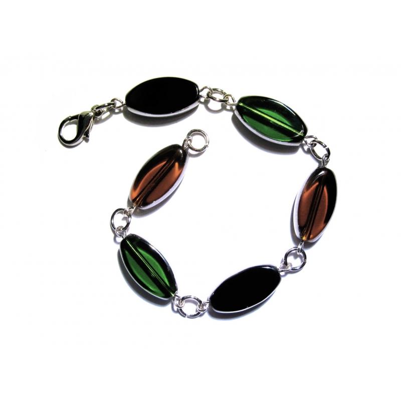 Schwarz braun grünes Armband / Armkette mit Kristallglasperlen mit Silberrand - Glasschmuck
