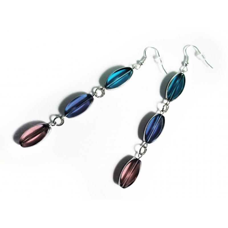 Lange türkis blau lila Ohrhänger aus Kristallglas - Glasschmuck