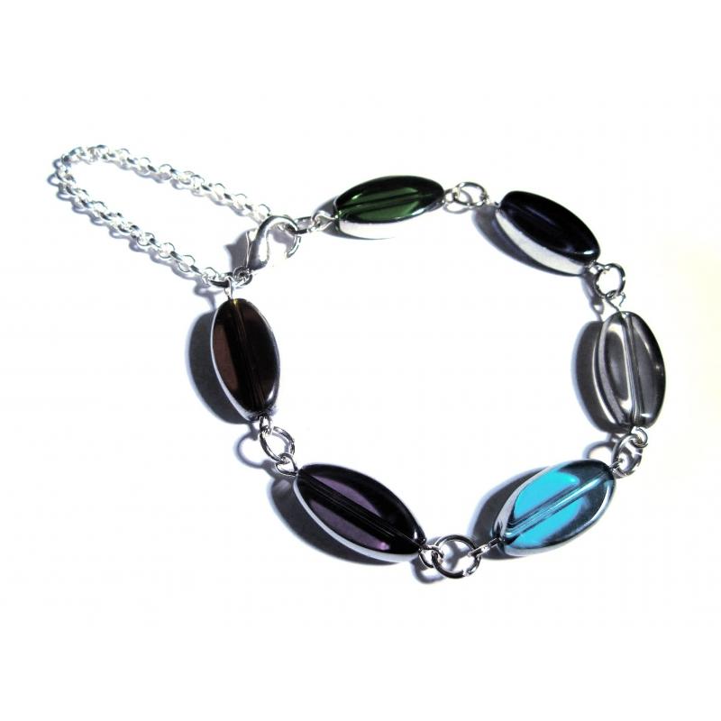 Buntes Armband / Armkette mit Kristallglasperlen mit Silberrand - Glasschmuck