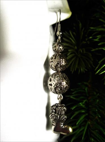 Lange Nikolausstiefel Ohrhänger silberfarbene Ohrringe für Weihnachten